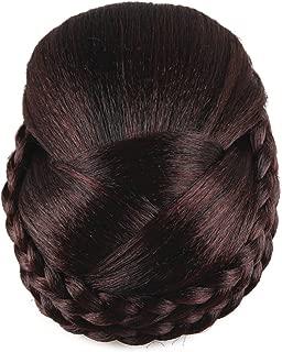 Better-Home Synthetic Hair Braided Clip in Bun Hair Extensions Hair Pieces Women(Dark Brown)
