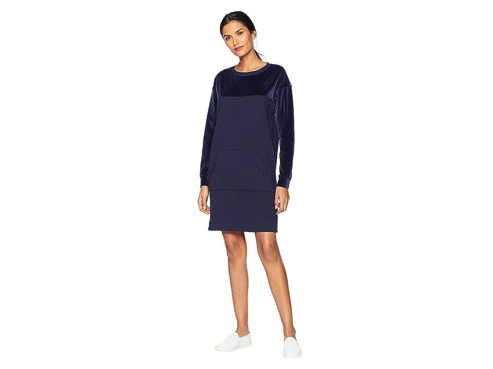 Lacoste Long Sleeve Velvet Sweater Dress (Navy Blue) Women