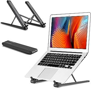 """viozon ノートパソコン/タブレット/PCスタンド、折りたたみ式、6段角度調整、高さ調整、9.7-15.6""""PC/MacBook/ラップトップ/iPad/ノートpcに適用、軽量/軽い アルミ合金 姿勢改善 腰痛/猫背解消 放熱性良い 収納袋..."""