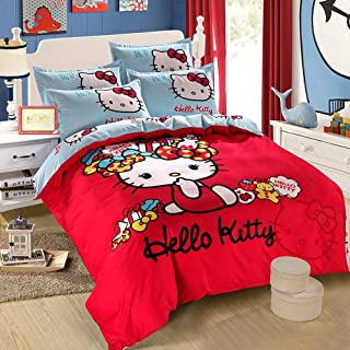 Warm Embrace Kids Bedding Teen Comforter Set Girls Children Bed in a Bag Hello Kitty,Duvet Cover and Pillowcase and Flat Sheet and Comforter,Twin Size,4 Piece