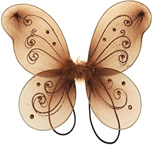 Homeford Firefly Imports Organza Nylon Butterfly Wings with Glitters, 12-Inch, Brown