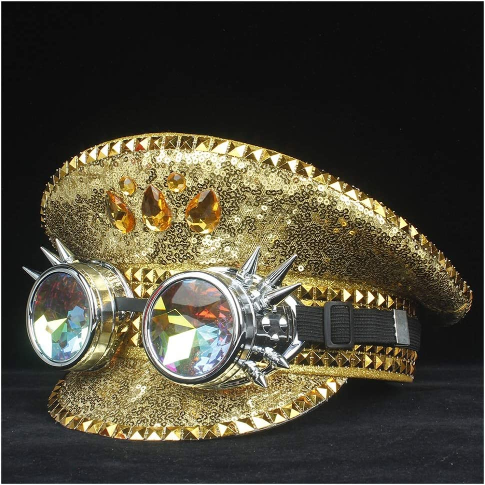 HHHCM-US Men Women Hat with Steampunk Metal Classes Performance Hat Knuckle Protection Hat Adult Hat Fascinator Hat 3 Size (Color : Gold, Size : 59)