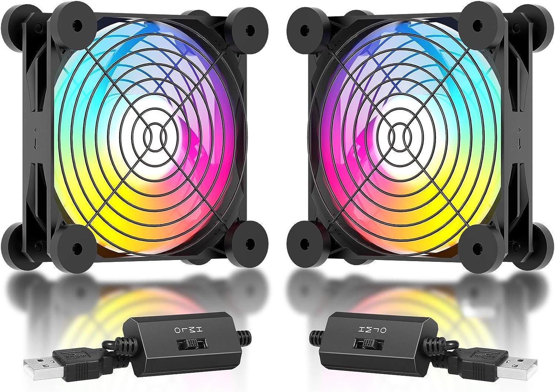 upHere Ventilador USB, 120 mm, LED, ventilador arcoíris, silencioso, con 3 niveles de velocidad, compatible con PC / Xbox / Playstation / TV box, etc., N12U07