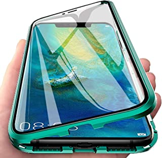 EabHulie Huawei Mate 20 Pro Case, 360 Full Body Transparent Tempered Glass with Magnetic Adsorption Metal Bumper Case Cover for Huawei Mate 20 Pro Green