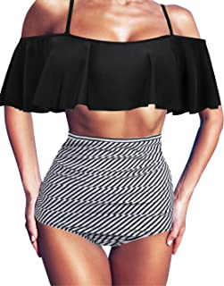 HDE Women's Retro Swimsuit Flounce Falbala Bathing Suit High Waist Bikini Set