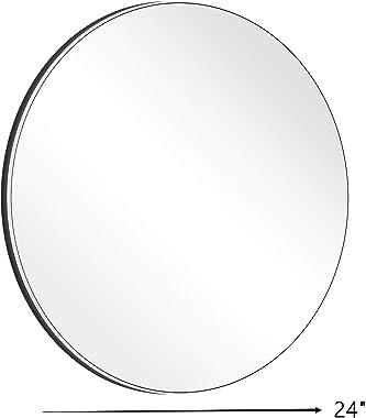 4EVER BEAUTI Bathroom Mirror Round Mirror, Wall-Mounted Bathroom Mirror,24'' Modern Brushed Black Metal Frame Mirror for Wall