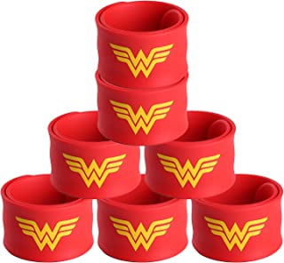 (7 Pack Wonder Woman) - Justice League Superhero Slap Bracelet for Kids Boys & Girls Birthday Party Supplies Favours