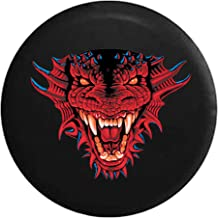 Spare Tire Cover Growling Reptile Dragon Horned Monster Red and Blue fits Jeep Wrangler, Rubicon, Sahara, Liberty, Rav4 & RV Accessories 30 Inch