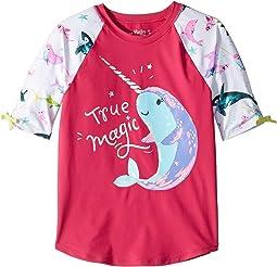 Watercolour Sea Friends Short Sleeve Rashguard (Toddler/Little Kids/Big Kids)