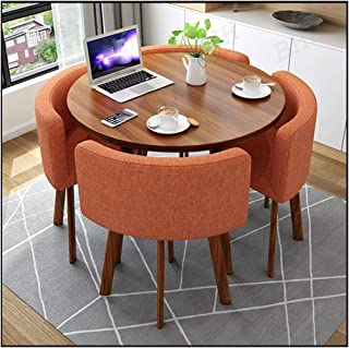Dining Table and Chairs Set of 4, Furniture Combination Kitchen Coffee Office Fast-Food Shop Western Restaurant Milk Tea Shop Hotel Home Living Room Study Room Bedroom Library (Color : Orange)