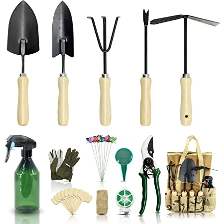 YARTTING Gardening Tool Set-28 Piece, Newest Version, Heavy Duty Garden Tools Includes Ergonomic Wooden Hand Weeder Culti-Hoe, Trowel, Garden Tote and More-Gardening Gifts for Men Women