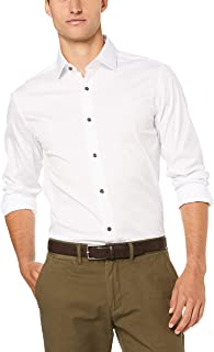 Oxford Men Stretch Travel Shirt with Charcoal Buttons