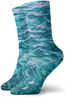 tyui7, Color tropical Azul natural Arrecife de coral Superficie de la ola del océano Calcetines de compresión antideslizantes Calcetines deportivos acogedores de 30 cm para hombres, mujeres y niños