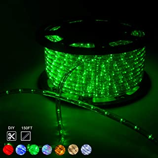 WALCUT Flexible 150FT LED Rope String Light Indoor/Outdoor Decorative Party Christmas Holiday Business Restaurant Light Kit 110V 1620LEDs, Green