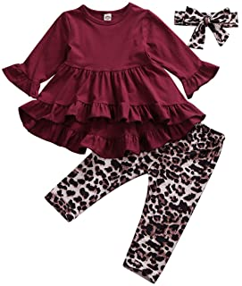 Fashion Toddler Baby Girl Outfits Ruffled Long Sleeve Dress Tunic Tops+Leopard Legging Pants+Headband Set Spring Fall Clothes