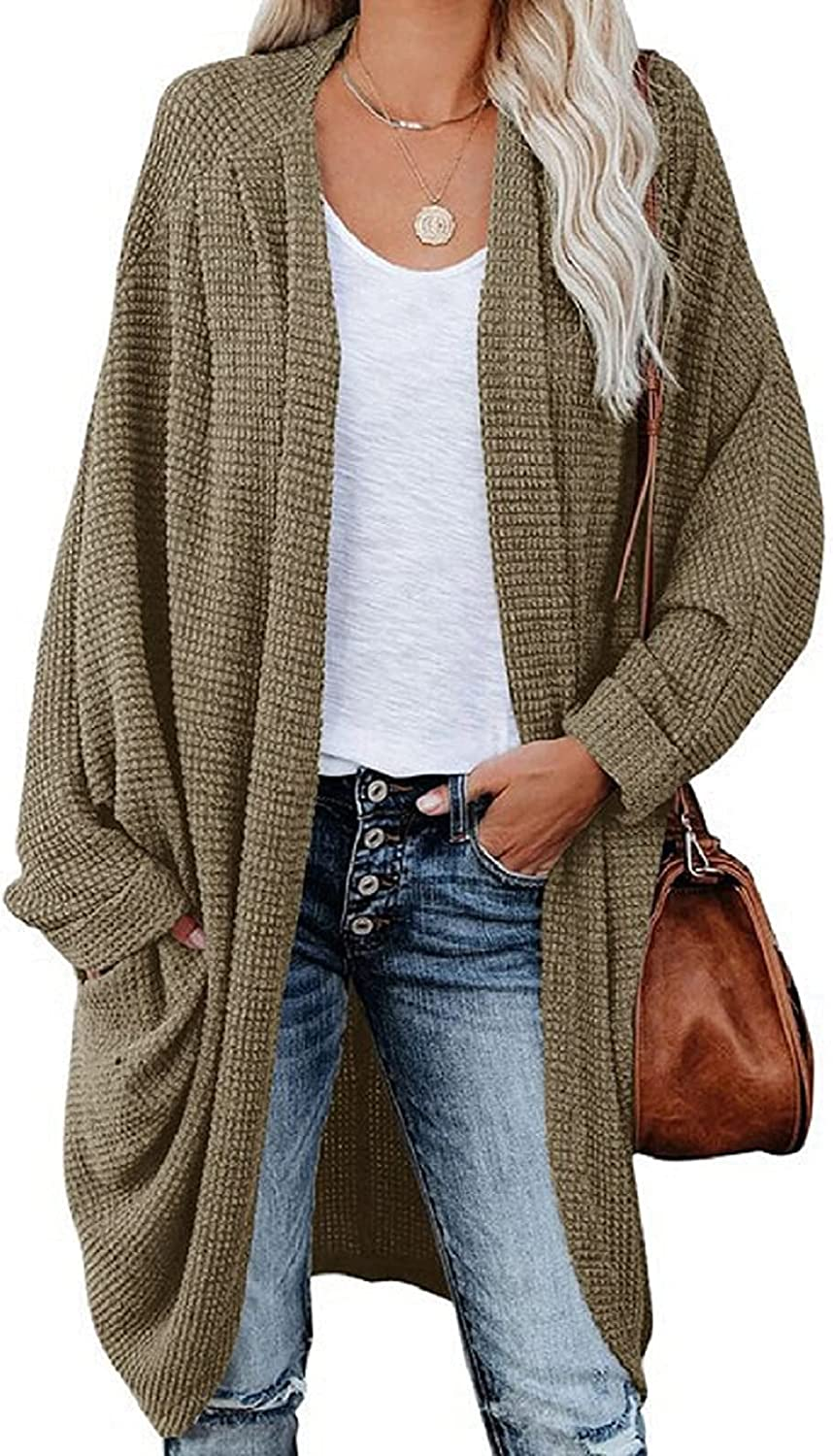 Women 's Lightweight Cardigan Loose Casual Open Front Knit Long Sleeve Shrugs with Pockets