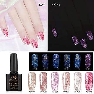 6pcs Glitter Gel Nail Polish Set, Saviland Glow in the Dark Nail Varnish UV/Led Manicure Nail Art Kit (Pink Rose Gold Series)