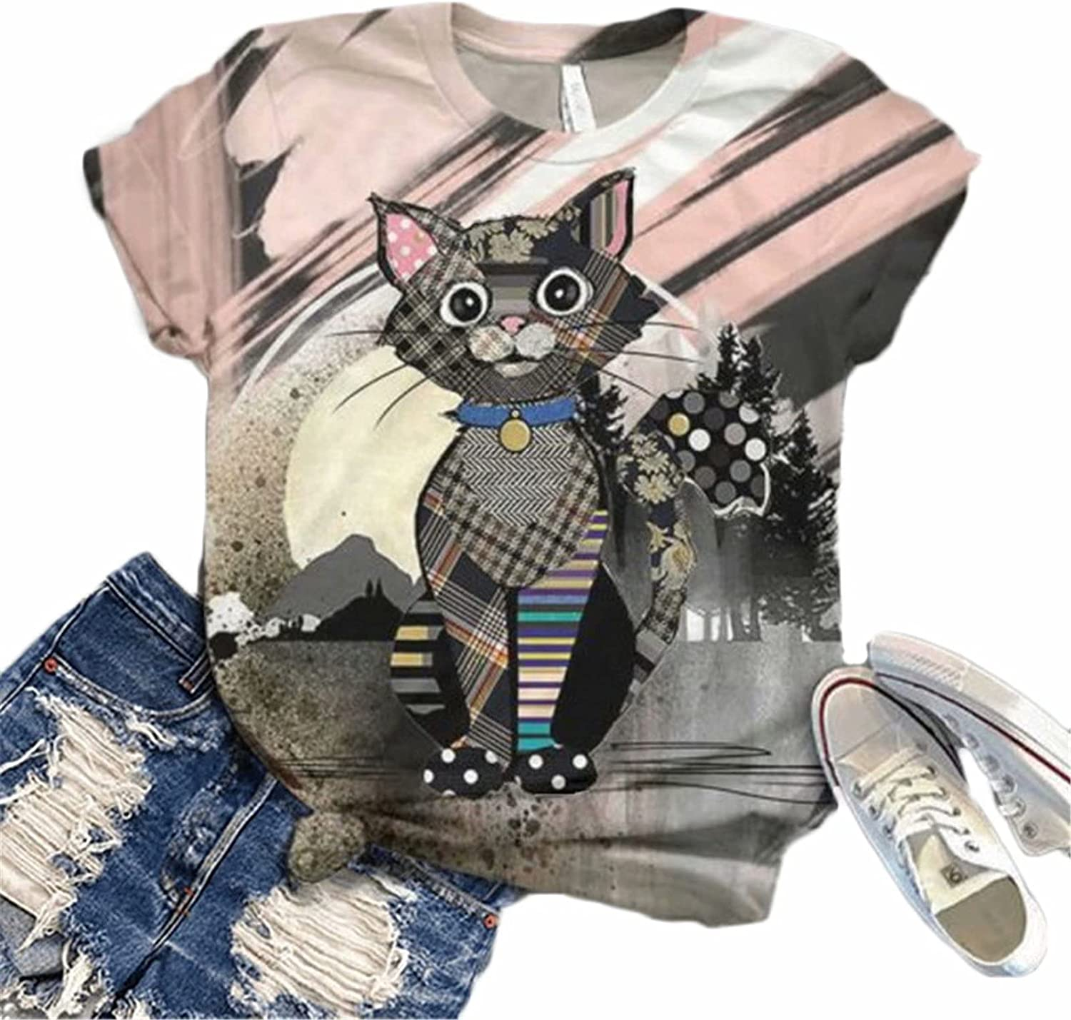 Hami House Womens Tshirts Graphic Casual 3D Animal Printed Tees Plus Size Summer Short Sleeve O-Neck Tunic Tops Blouse
