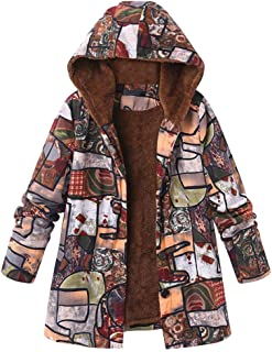 ffff86f0bad Plus Size Womens Coats and Jackets Hooded Pockets Parka Jacket Ladies  Floral Print Casual Cardigan Overcoat