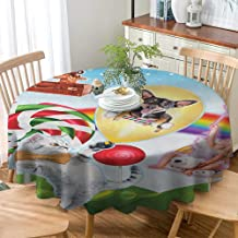 VICWOWONE Round Tablecloth Polyester Kids Christmas Decoration Quick Drying Colorful Fantasy Land Rainbow Candy Trees Cat Dog Fairy Girl Boy Flying in Suitcase,D63(160cm) Multicolor
