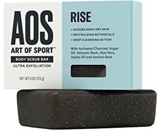 Art of Sport Men�s Soap Charcoal Body Scrub Bar | Extra Fresh Rise Scent | Black Soap Bar with Natural Botanicals | Aloe Vera, Jojoba Oil, Argan Oil | Ultra Exfoliation, 6 oz