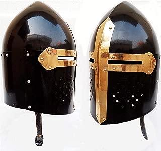 AnNafi Medieval Black Sugarloaf Helmet  Ancient Roman Armor Spartan Knight Helm   Wearable Headwear with Stand