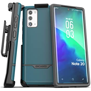 Encased Galaxy Note 20 Belt Clip Protective Holster Case (2020 Rebel Armor) Heavy Duty Rugged Full Body Cover with Holder for Samsung Note 20 (Blue)