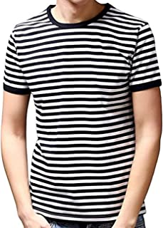 Men's Black and White Striped T Shirt Short Sleeve Crew Neck Tee Outfits Tops