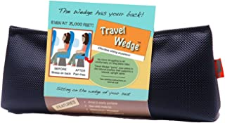 Unique Small Orthopedic Travel Wedge Cushion - Lumbar Support, Back Pain Relief, Perfect Posture Tailbone Back Support Pillow for Traveling - Made in USA, Black