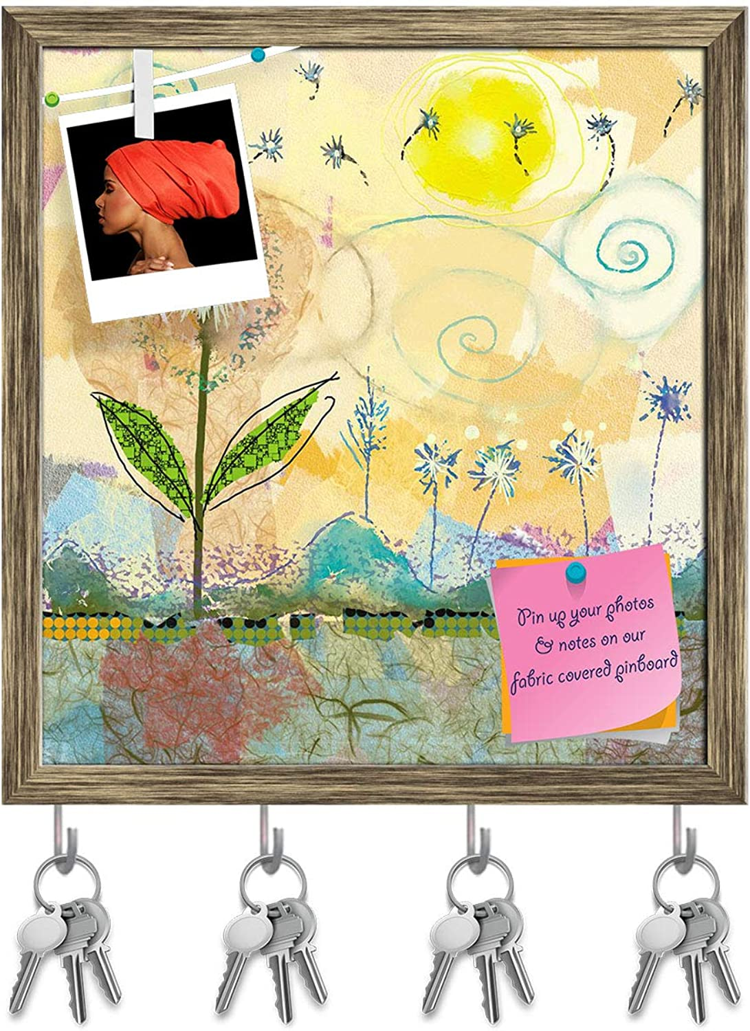 Artzfolio Abstract Flowers Artwork Key Holder Hooks   Notice Pin Board   Antique golden Frame 16 X 17.2Inch