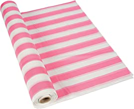 Fun Express - Pink/White Striped Tablecloth Roll - Party Supplies - Table Covers - Print Table Rolls - 1 Piece