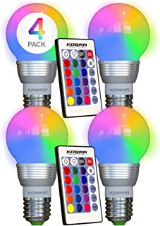 KOBRA LED Bulb Color Changing Light Bulb with Remote Control (4-Pack)16 Different Color..