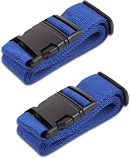 Blue Luggage Belts Suitcase Straps Adjustable and Durable, Name Card, Travel Case Accessories, 2 Pack