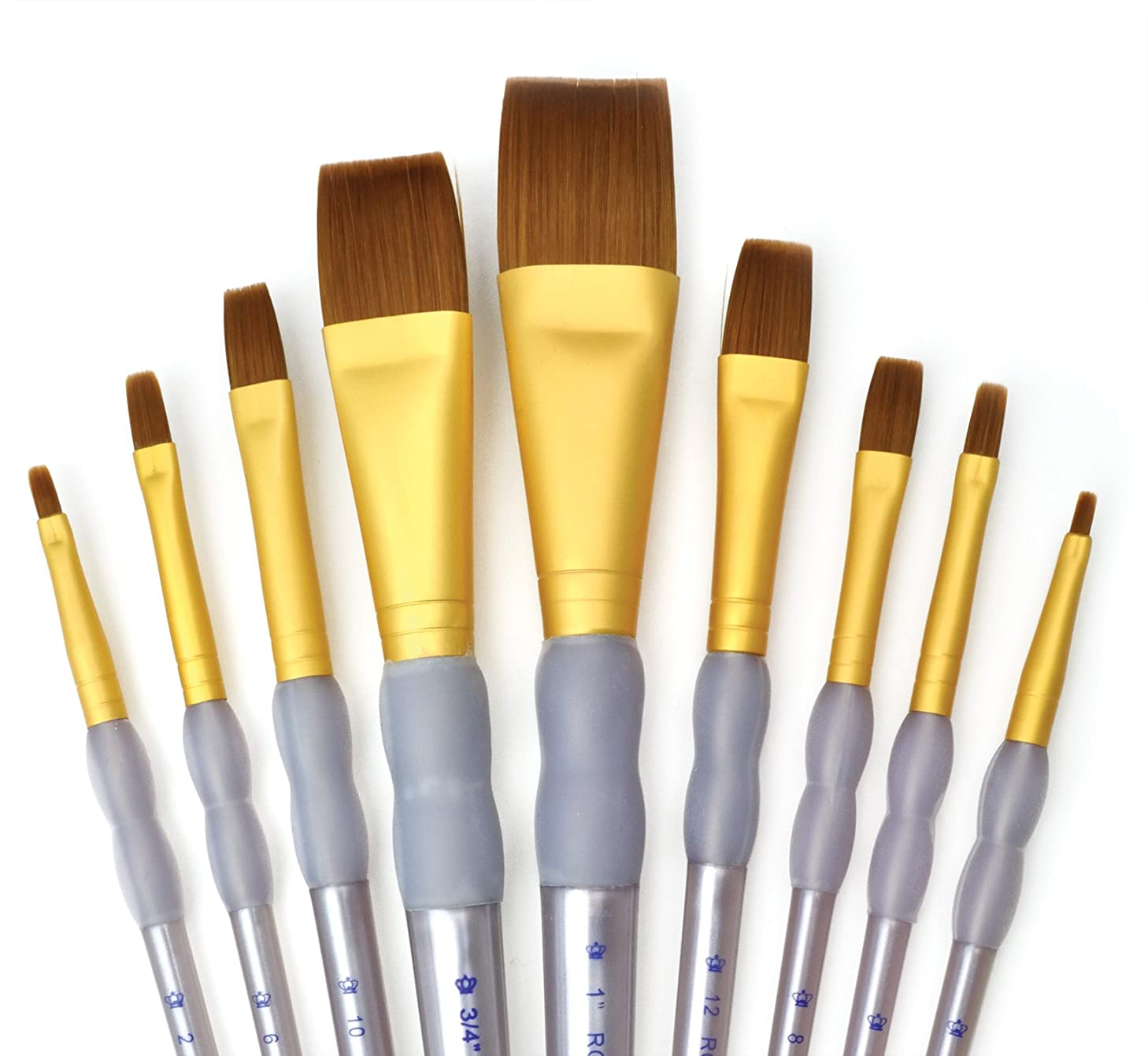 Royal and Langnickel RCC 310 Crafter's Choice Flat Taklon Variety Brush Set - Brown (Pack of 9)