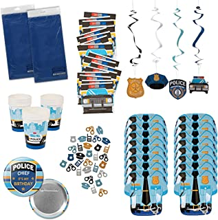 Police Party Supplies Policeman Policewoman Birthday Party Tableware Bundle Set Includes Tablecloths, Plates, Napkins, Cups, plus more for 16 Guests