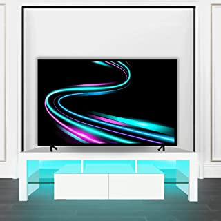 ARMCONE LED TV Stand for up to 70 Inch White Modern Entertainment Center TV Console with Storage...