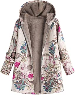 VOYOAO Womens Floral Coats Warm Faux Plush Vintage Jackets Hooded Outerwear