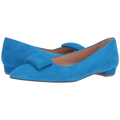 L.K. Bennett Jacqui Almond Toe Flat with Pebble (Mediterranean Blue) Women