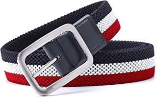 Meetloveyou Luxury Gentleman Belt Without Holes Men's Elastic Reversible Belt With Mixed Color Stretch Woven Canvas Belt