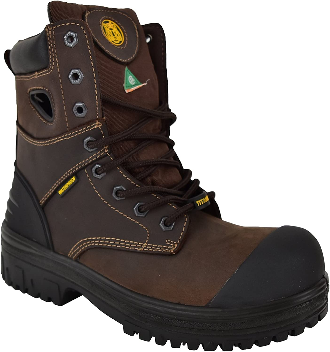 Tiger Safety CSA Men's Lightweight Titanium Toe-Cap Rubber Outsole Waterproof Leather Work Safety Boots - 6631