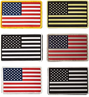 Great 1 Products American Flag Patch Set, 6 Pack, 2x3 inch, PVC with Velcro Backing, Hook and Loop, Military and Tactical Accessory for Clothing-Jackets-Hats-Backpacks, Multiple Color Pack