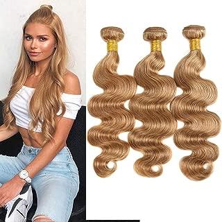 Black Rose Hair Honey Blonde Color 27# Brazilian Body Wave 3 Bundles 12 14 16 inches 100% Unprocessed Virgin Brazilian Human Hair Body Wave Remy Hair Weave Bundles,95-100g/piece