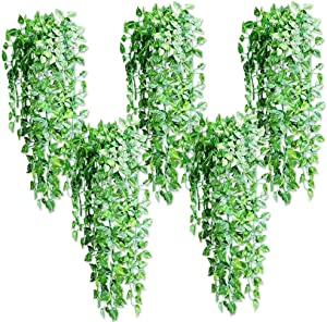 TankMR 5PcsHanging ArtificialSilk Plant Leaf Vine RattanIvory Real Touch Plant for DIY Bouquets Wedding Party Baby Shower Home Decor 5pcs