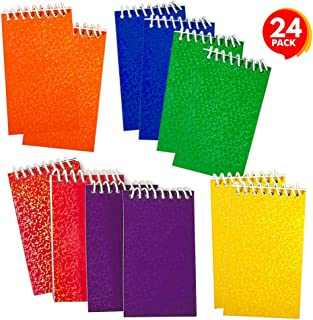 ArtCreativity Mini Prism Notepads - Bulk Pack of 24 - Small Note Memo Pads with Colorful Glitter Covers, Cute Stationery Supplies for School and Office, Fun Birthday Party Favors for Kids and Adults