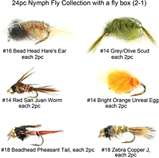 Riverruns Best Assortment 12 Nymph Fly Collection Total 24 Flies with A Mini Fly Box, Bead Head Prince Nymph, Zebra Copper, Poxyback Micro Dark Stone, Fly Fishing Flies Trout Nymph Flies
