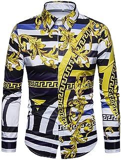 68f8456977 HuaDingTech Versaces Hommes Chemise Mode Classique rétro Loisirs Palace  Vent numérique rayé Imprimer Chemise à Manches