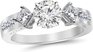 2.85 Carat 14K White Gold Channel Set 3 Three Stone Princess Diamond Engagement Ring with a 2 Carat Moissanite Center