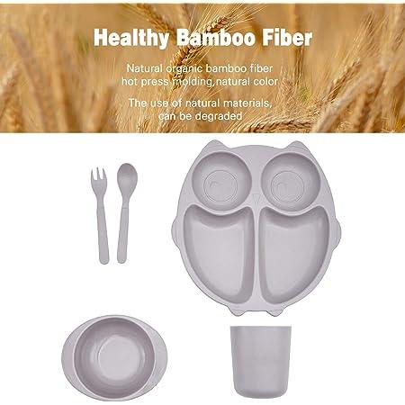 5pcs Bamboo Kids Dinnerware Set for Baby Feeding, Non Toxic & Safe Toddler Dinnerware Set, Eco-Friendly Tableware for Baby Toddler Kids Bamboo Toddler Dishes & Dinnerware Sets,