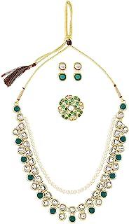 Zaveri Pearls Green Kundan Multi Layers Necklace Earring & Ring Set For Women-ZPFK10778