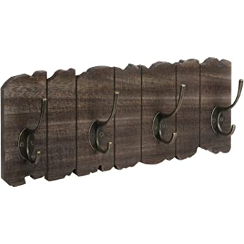 Avignon Rustic Coat Hook Vintage Wooden Coat Rack with Rustic Metal Hooks 34 inches Wide and 9 inches high